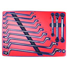 Рожковые, накидные, комбинированные ключи - Набор накидных и разрезных ключей, зеркальная полировка, ложемент, 12 предм, 0