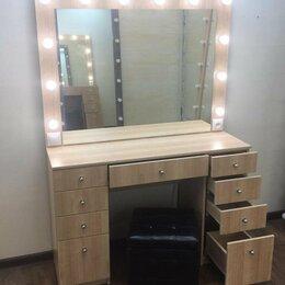Комоды - Туалетный столик с ящиками зеркалом и подсветкой цвет вишня , 0