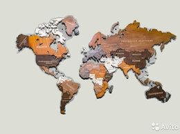 Картины, постеры, гобелены, панно - Деревянная карта мира Тюмень, 0