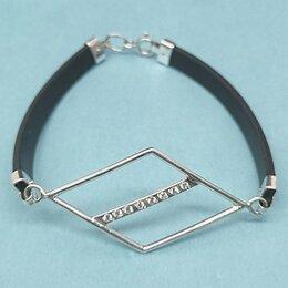 Браслеты - Женский браслет каучук и серебро с цирконом  -…, 0