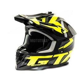 Спортивная защита - Шлем мото кроссовый GTX 633 (M) #8 BLACK/FLUO YELLOW/GREY, 0