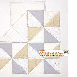 "Одеяла - Одеяло лоскутное ""Треугольнички"" 110 х 110 см серо-бежевый LoveBaby..., 0"