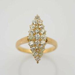 Кольца и перстни - Золотое кольцо с брилл.Маркиз.Царизм.56 проба, 0