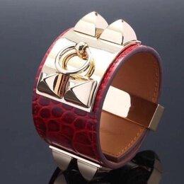 Браслеты - Женский кожаный браслет Hermes, красный, крокодил, 0
