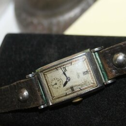 Другое - часы немецкие старинные ручные на родном ремне ВОВ, 0