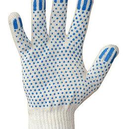 Средства индивидуальной защиты - Перчатки хлопчатобумажные 7,5 класс  3 нити ПВХ точка, 0