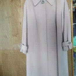 Пальто - Польто прямое, с поясом, бежевого цвета, 54 размер, рост 164., 0