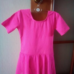 Купальники и плавки - Купальник розовый гимнастический с юбкой, для танцев, 0