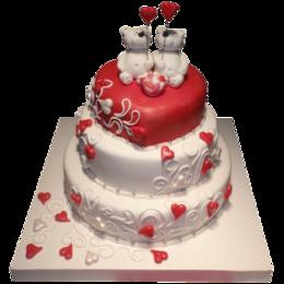 Аксессуары - Свадебный торт в три этажа влюбленные Мишки, 0