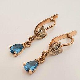 Серьги - Золотые серьги с топазами и бриллиантами, 0