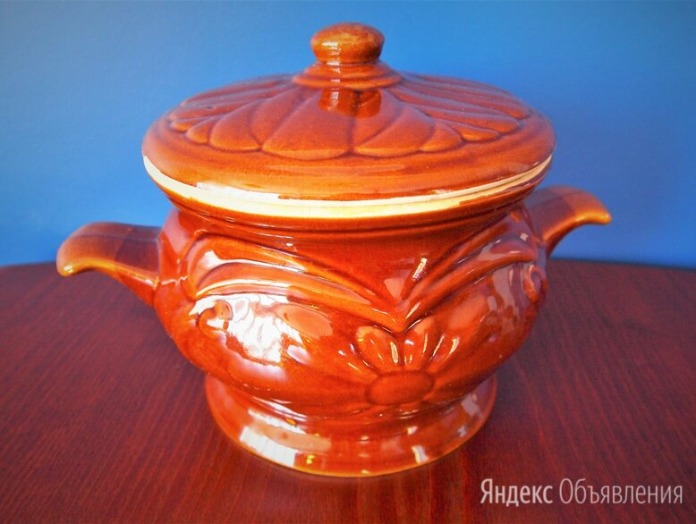 Горшок-жаровня Ромашка для запекания керамический по цене 850₽ - Посуда для выпечки и запекания, фото 0