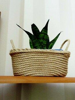 Горшки, подставки для цветов - Стильное кашпо-корзинка из джута, 0