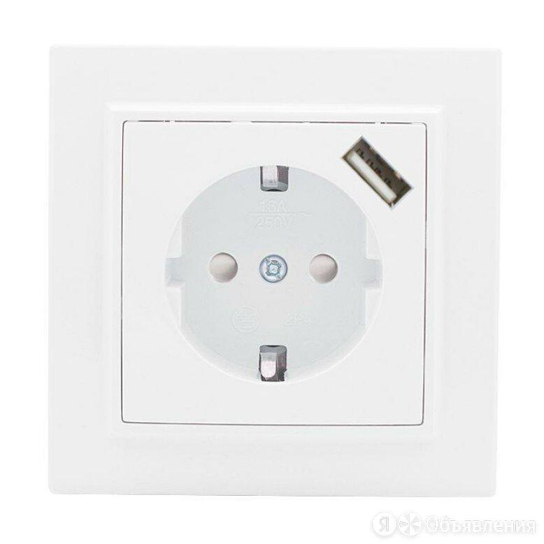 Розетка одноместная скрытая с заземлением и защитными шторками 16А + USB 1А б... по цене 552₽ - Электроустановочные изделия, фото 0
