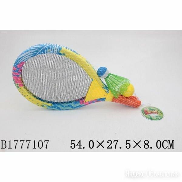 B1777107 Набор ракетки дет., 54 см, 2 шт., мяч, волан в сетке в кор.2*24шт по цене 867₽ - Санки и аксессуары, фото 0