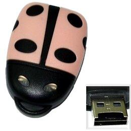 """Устройства для чтения карт памяти - Картридер Micro SD - USB """"Божья коровка"""" светло-розовый, 0"""