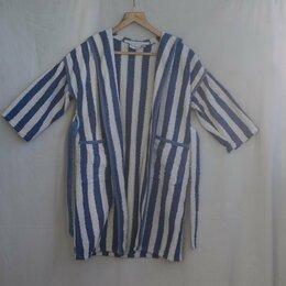 Домашняя одежда -  Халат детский банный, расцветка бело-синие полосы, на рост 128, 0