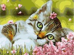 Раскраски и роспись - Картины по номерам Котенок в цветочках 40х50 см, 0