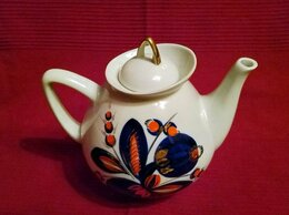 Заварочные чайники - Чайник большой, фарфор, золото, кобальт., 0
