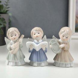 "Новогодние фигурки и сувениры - Premium Gips Сувенир керамика ""Ангелы"" набор 3 шт 10х5х5 см, 0"