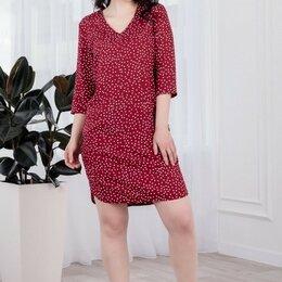 Домашняя одежда - Платье женское бордовое в горох, 0