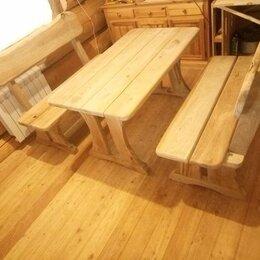 Комплекты садовой мебели - Набор стол и скамейки из дуба для веранды и дома, 0