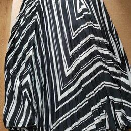 Юбки - Юбка черно-белые полосы, пояс на резинке, отличное качество и состояние, 0