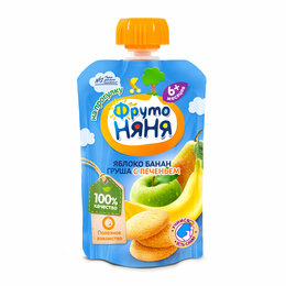 Детское питание - Фрутоняня Пюре Яблоко, Банан, Груша с Печеньем {с 6 мес} (Гуалапак) 90г., 0