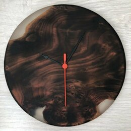 Часы настенные - Часы из дерева и эпоксидной смолы, 0