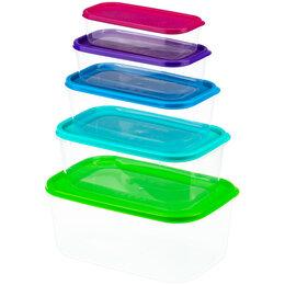 """Ёмкости для хранения - Набор контейнеров для СВЧ и продуктов Idea """"Радуга"""", 5шт, 0,25л/0,45л/0,8л/1,..., 0"""
