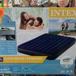 Походная мебель - кровать матрас надувной флокированный размер 152*203*25 см, 0