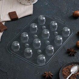 Формы для льда и десертов - Форма для шоколада «Круглые завитушки», 13×9,5 см, 0
