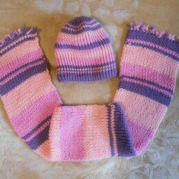 Головные уборы - Шапка и шарф для девочки зима 5-7 лет, 0
