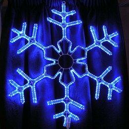 Новогодний декор и аксессуары - Синяя светодиодная фигура Снежинка 60 см, 0