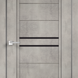 Межкомнатные двери - Межкомнатные двери Экошпон NEXT 2  цвет Муар светло-серый стекло Лакобель чер..., 0