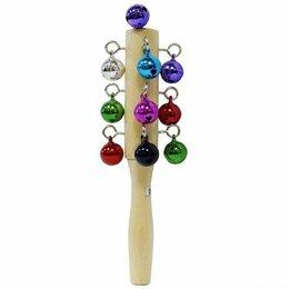Смычковые инструменты - Brahner DP-113CL бубенцы цветные на деревянной ручке, 17 см., 0