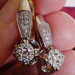 Серьги - Золотые серьги с бриллиантами, 0