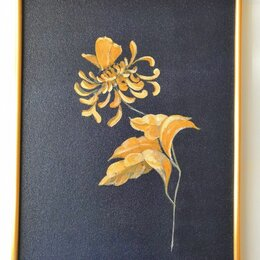Картины, постеры, гобелены, панно - Картина. Цветок и бабочка. Акрил на картоне 30 на 40 см, 0