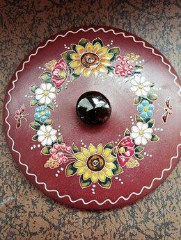 Декоративная посуда - Крышка керамическая Полтавская роспись ручная…, 0
