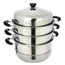 Сковороды и сотейники - Мантоварка Vetta с крышкой, 3 яруса, диаметр 28 см, 0