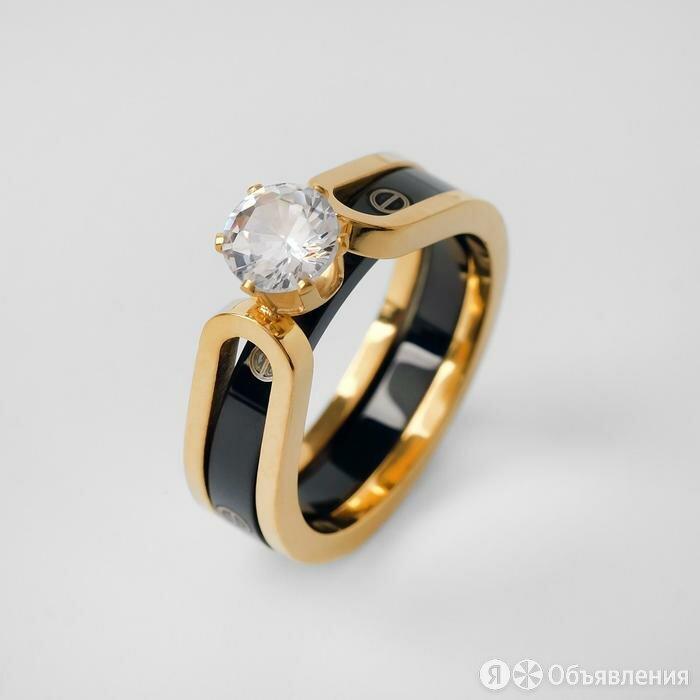 """Кольцо керамика """"Карат"""", цвет чёрный в золоте, 18 размер по цене 900₽ - Кольца и перстни, фото 0"""