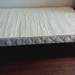 Кровати - Мягкая кровать вместе с матрацем Аскона в хорошем состоянии, полуторка, 8000 р., 0