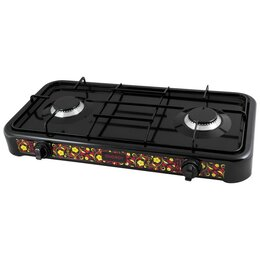Туристические горелки и плитки - Плитка газовая 2-х конфор. EN-002B, 5,6кВт, (60х32х8см) черная 144034, 0
