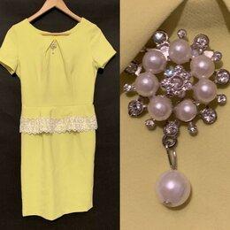 Платья - Платье лимонного цвета с брошкой (новое), 0