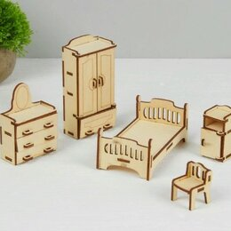 Игрушечная мебель и бытовая техника - Набор деревянной мебели для кукол Спальня, 0