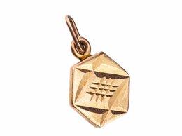 Другое - Подвеска в форме шестиугольника с резьбой, золото, 0