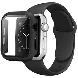 Ремешки для умных часов - Черный силиконовый чехол для Apple Watch 44мм с ремешком черного цвета, 0