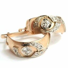 Серьги - Золотые 583 ссср серьги с бриллиантами, 0