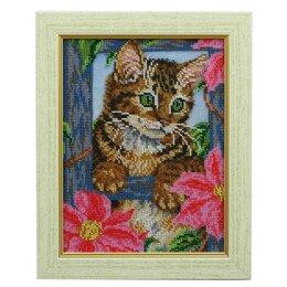 Картины, постеры, гобелены, панно - Картина бисером «котёнок», 0