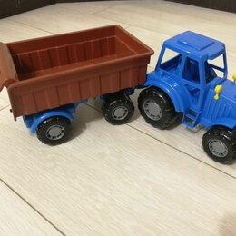 Машинки и техника -  Трактор синий с прицепом , 0