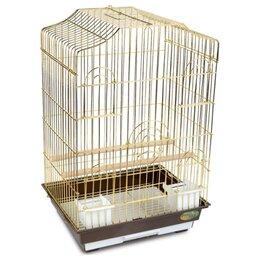 Клетки, вольеры, будки  - Triol клетка 6112 G (46.5x36x70 см)  Клетка с фигурной крышей золото для птиц, 0